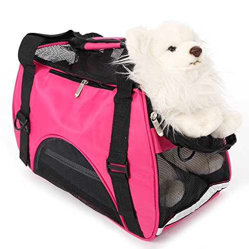 Soft-Sided Pet Carrier Bag for Small Dogs, Puppy, Cats – Airline Approved Travel Pet Handbag Shoulder Bags Portable for Outdoor Use – Rose Red S