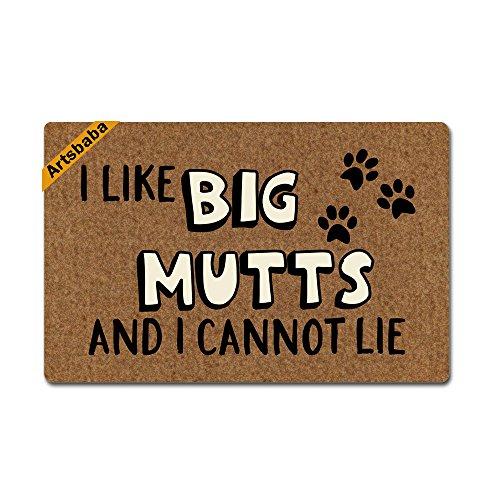 Artsbaba Doormat I Like Big Mutts and I Cannot Lie Rubber Non-Slip Doormat Entrance Rug Floor Door Mat Funny Home Indoor Mats 23.6 x15.7 Inches