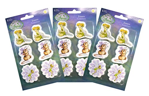 Tinkerbell Erasers - Sandy Lion [3-Pack Disney Fairies Tinkerbell 6-pk Die-Cut Pencil Erasers by