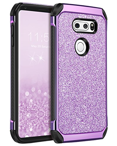 BENTOBEN LG V30 Case, LG V30+ Case, LG V35 ThinQ Phone Cases, LG V30S ThinQ Cell Phone Case,Slim 2 in 1 Glitter Bling Sparkly Cover, Heavy Duty Shockproof Protective Cases for Women, Gilrs, Purple