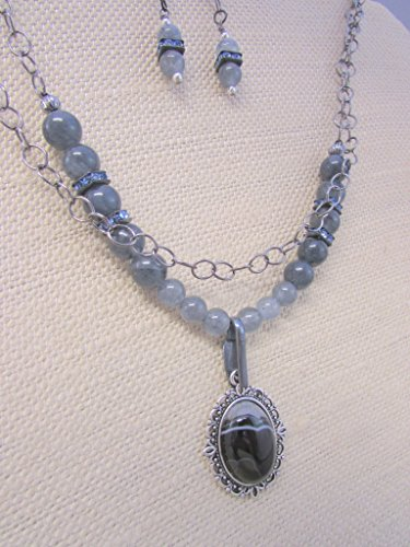 African Slate - African Botswana Banded Black Agate Necklace, Slate Gray Jade Gemstone, Love and Strength Chakra