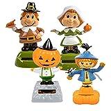 Solar-Powered Dancing Fall Friends, Pumpkin, Scarecrow and Pilgrims, 4-pc Set