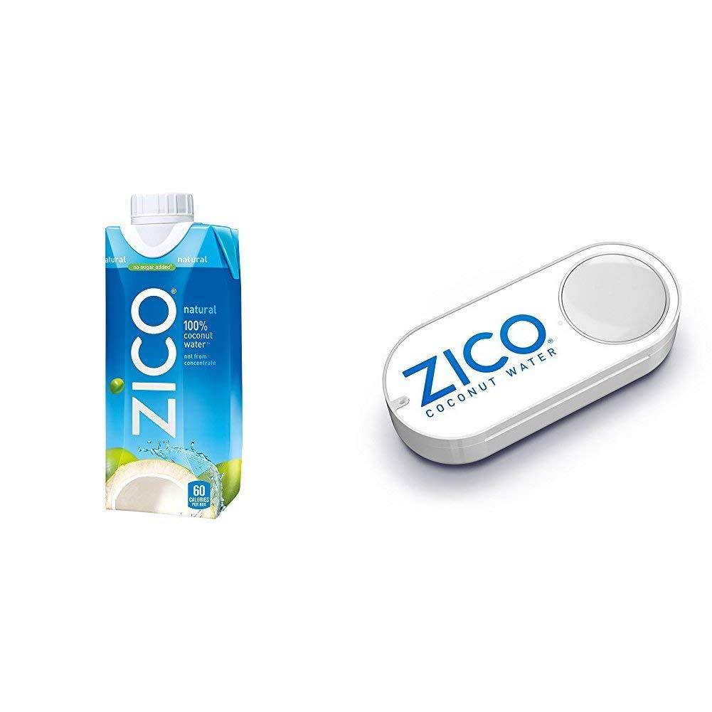 ZICO Natural 100% Coconut Water Drink, No Sugar Added Gluten Free, 11.2 fl oz, 12 Pack + ZICO Pure Coconut Water Dash Button