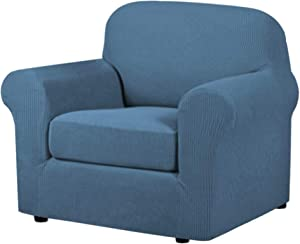 H.VERSAILTEX High Stretch Chair Cover Chair Slipcover 2 Piece Couch Shield Furniture Cover/Protector Soft with High Spandex Jacquard Checked Pattern Fabric (Chair, Dusty Blue)