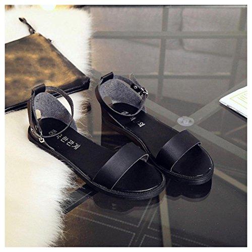 Summer Sandals, Inkach Women Summer Sandals Buckle Strap Flat Sandals Comfortable Ladies Shoes Black