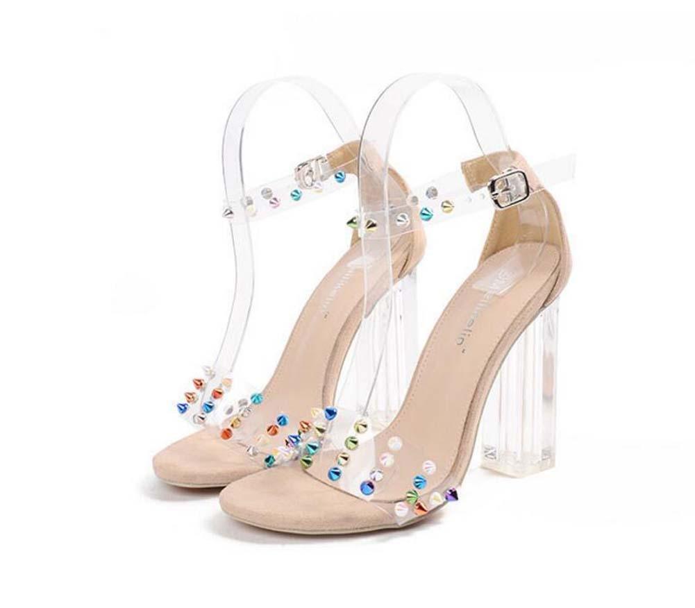 11CM Transparente Cristal Chunkly Heel Remaches Sandalias Mujer Moda Abierto Remaches de color Correa de tobillo Hebilla del cinturón Sandalias Zapatos De Vestir Tamaño 35-40 de la UE Onfly