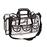 Best Travel Makeup Bag Kemier Clear Travel Makeup Bag with 6 External Pockets,Cosmetic Organizer Case with Shoulder Strap,Large