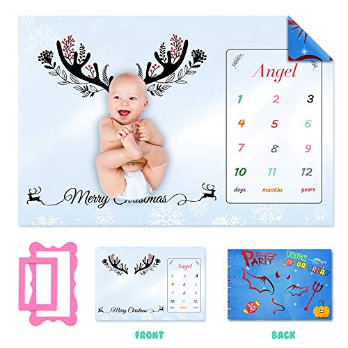 sanwo Double-Sided Baby Milestone Blanket/Soft and Delicate Flannel - Funny Halloween on Front & Beautiful Christmas on Back with Frames, for Newborn Boy & Girl/Photography New Mom Baby Shower Gift ()