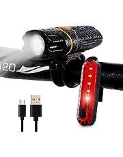 Wastou fietsverlichting, Super Bright Bike Front Light, IPX6 waterdicht 6 modi fietsen licht zaklamp fakkel met USB oplaadbare achterlicht (USB-kabel meegeleverd)