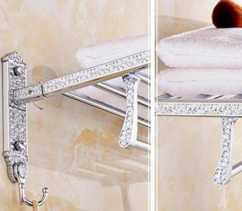 GL&G European luxury silver Bathroom Bath Towel Rack Double Towel Bar Wall Mount Bathroom Storage Organizer Shelf Bathroom Shelves Holder Towel Bars fold Towel Racks,6023.513.5cm by GAOLIGUO (Image #1)