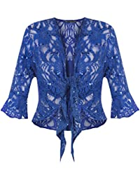 Women's Plus Size Tie Up 3/4 Flared Bell Sleeve Lace Sequin Bolero Shrug Top (US 8-10 to 20-22)
