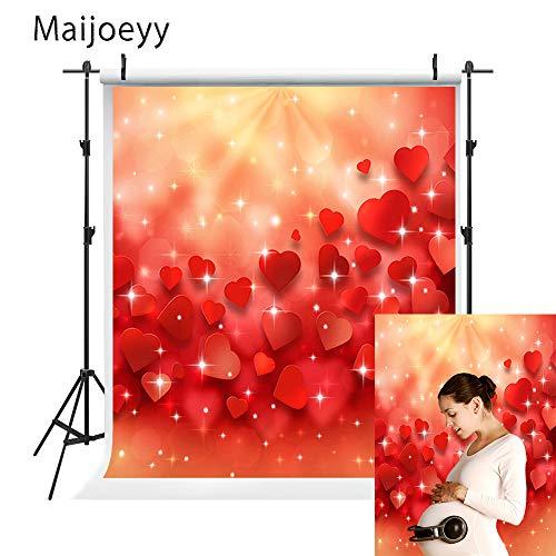 Maijoeyy 5x7ft Valentines Day Photo Backdrop Red Shiny Love Photography Backdrops Lover Baby Shower Backdrop for Pictures Valentines Photography Props