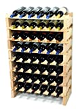 Modular Wine Rack Beechwood 24-72 Bottle Capacity 6 Bottles Across up to 12 Rows Newest Improved Model (48 Bottles - 8 Rows)