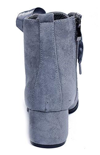 a0c6497b51678b AgeeMi Shoes Damen Langschaft Stiefel Schnüren Stiefel Damen Flache Boots  Grau ...