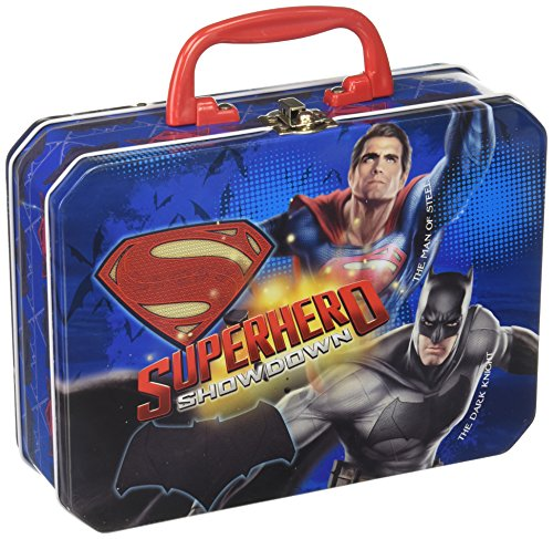 Batman v/s Superman deluxe rectangle tin box with plastic handle & - Case Deluxe Tin