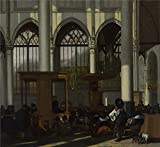 Beautiful Paint on Canvas no frame, no stretch ,Emanuel de Witte - The Interior of the Oude Kerk, Amsterdam (1),about 1660, is for Home Decoration, or Wall Art Decoration, Home Decor. There are fiber canvas, cotton canvas, or linen canvas. An...