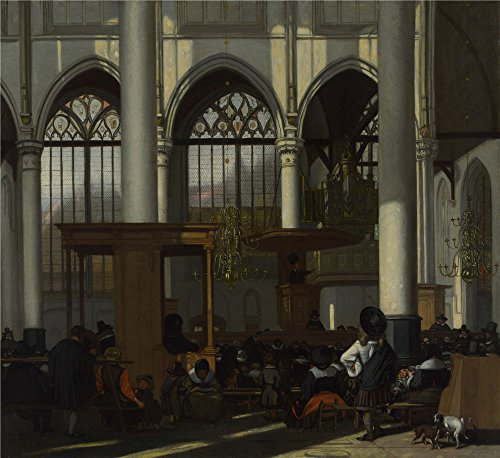 Oil Painting 'Emanuel De Witte - The Interior Of The Oude Kerk, Amsterdam (1),about 1660' 8 x 9 inch / 20 x 22 cm , on High Definition HD canvas - Noten Dries Biography Van