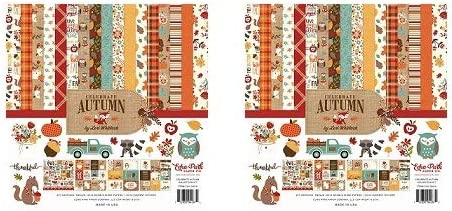 Orange Yellow Brown Tan Blue Echo Park Paper Company CAU158016 Celebrate Autumn Collection Kit Paper