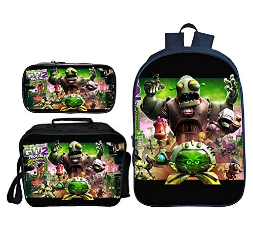 GHDE& Plants vs. Zombies Backpack 3 in 1 Student Bookbag Multifunction Rucksack Lightweight Travel Daypack with Lunch Bag and Pencil Case,4]()