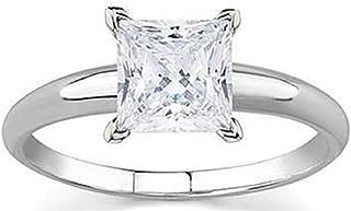 RS Bijoux Or blanc 14K plaqué argent sterling 925Magnifique Mariage fiançailles Attaches de 1,00CT Coupe Princesse Blanc CZ Bague solitaire