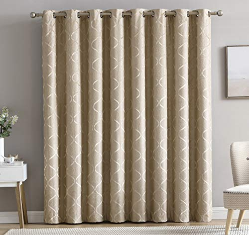 HLC.ME Lattice Flocked 100% Complete Blackout Thermal Insulated Window Curtain Grommet Panel for Sliding Glass Patio Door - Energy Savings & Soundproof (100 x 84 inches Long, Taupe) (For Panels Window Doors Patio)