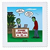 3dRose Rich Diesslins Funny Out to Lunch Cartoons - Zombie Corn Maze - going commercial - 18x18 inch quilt square (qs_266814_7)