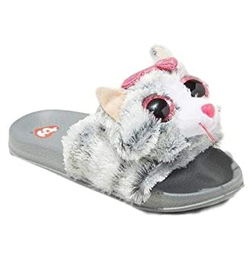 dd8d43f3bd00 Beanie Boo Flip Flop for Girls Kiki Kitty Cat Slider Shoe Slip On Slider  Grey Size