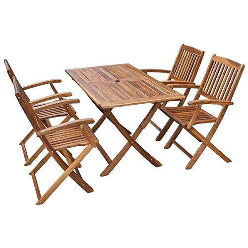 Set of 5 Patio Garden Outdoor Terrace Acacia Wood Dining Table 4 Chairs Foldable (Pub Poker Set)