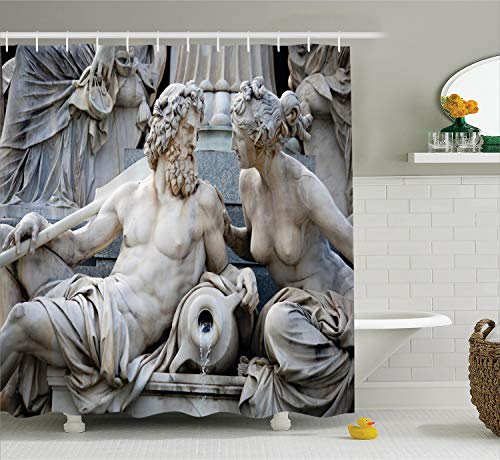 Ambesonne Sculptures Decor Collection, Male and Female Statues Athena Fountain in front of the Building of Austrian Parliament, Polyester Fabric Bathroom Shower Curtain Set with Hooks, Ivory