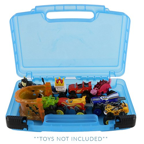 Life Made Better Blaze Monster Truck Storage Carrying Case, Toy Organizer for Figure Playset and Accessories, Blue (Truck Carrying Case)