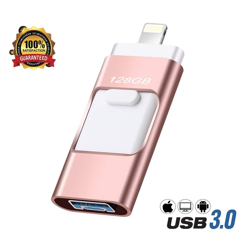 USB Flash Drive 128GB,E&jing Flash Drive 128GB U Drive External Storage Retractable USB Memory Stick[3-in-1-PC-mobile Phone]