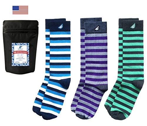 (Mens Striped Dress Socks Fun Colorful Gift 3-Pack Awesome Happy, Made in USA)