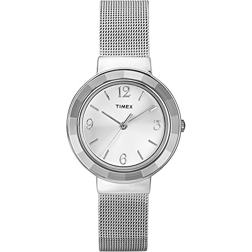 (Timex T2P196 Ladies Faceted Crystal Chrome Mesh Watch)