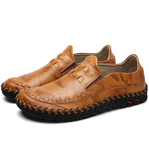 Lakerom Hommes Mocassins Chaussures Pour Hommes Slip On Shoes Chaussures En Cuir Casual Brown2
