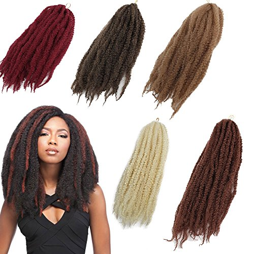 3Packs Afro Kinky Marley Braids Hair Extensions 18'' Synthetic Afro Kinky Twist Crochet Braiding Hair Mixed Color Bulk Twist Crochet Braids 60g/pc Synthetic Hair For Braiding African Twist (Tbug) by Eunice hair