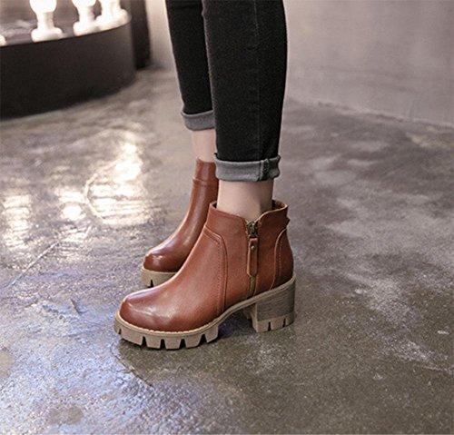 Meili Martin Tacón Gruesos De Altos Salvaje Rústico Brown Casual Pantalones Moda Botas Boots Botines Tacones Botas Zapatos Cortos Fondos Mujer B7RqWSBwr