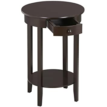 Charming Topeakmart Tall Round Sofa Side Table With Drawer And Shelf Rustic Espresso
