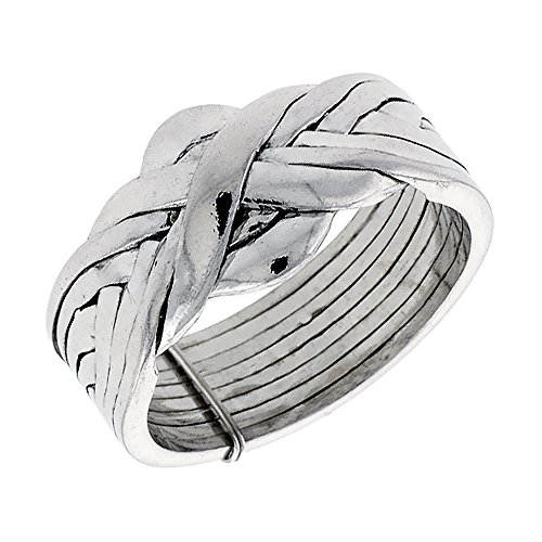 925 Sterling Silver Puzzle Ring - 6