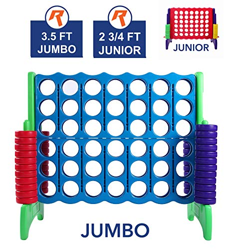 Giant 4 in A Row, 4 to Score - Premium Plastic Four Connect Game JUMBO 4 Foot Width Set with 44 Rings by Rally & Roar  Oversized Fun Family, Kids Indoor/Outdoor Games