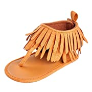 Lurryly Toddler Baby Girls Boys Infant Kids Soft Sole Crib Tassels Sandals Shoes 0-12 M (Size:2, Age:6~12 Month, US:3, Brown)