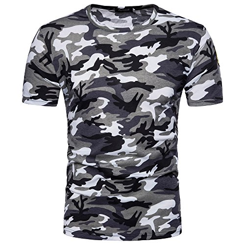 HGWXX7 Men's Summer T-Shirt Casual Camouflage Print Short Sleeve O Neck Pullover T-Shirt Top Blouse (M, Blue)