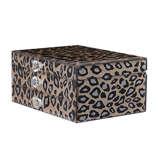 Champagne Gold Leopard Clamshell Glass Jewelry Storage Box Organizer Case Display Printed