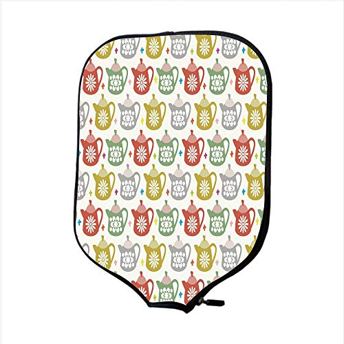 Neoprene Pickleball Paddle Racket Cover Case,Tea Party,Cartoon Style Multicolor Teapots with Floral Motifs Leisure Time Patterned Design Decorative,Multicolor,Fit For Most Rackets - Protect Your Paddl
