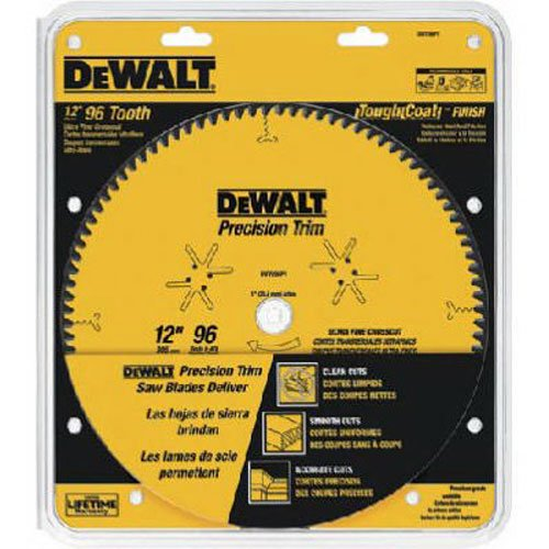 DEWALT DW7296PT Precision Trim 12-Inch 96 Tooth ATB Crosscutting Saw Blade with 1-Inch Arbor (Tooth Atb Thin)