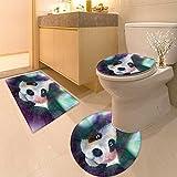3 Piece Anti-slip mat set computer games doodles Non Slip Bathroom Rugs
