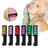 Temporary Hair Color Set, niceEshop(TM) Washable Hair Chalk Comb for Kids, Girls, Party, Cosplay DIY, Non-Toxic & Safe Metallic Glitter for All Hair Colors, 6 Color