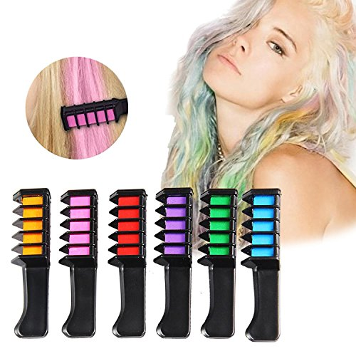 (Leegoal(TM) Temporary Hair Color Comb, Washable Hair Dye Comb,Disposable Hair Chalk for Hair Dye,Non Toxic and Safe for Kids, for Party Fans Cosplay DIY,)