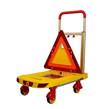 Carro De Plataforma Plegable - Advertencia De Seguridad Del Carro Reflexivo Fuerte con Caja De Almacenamiento