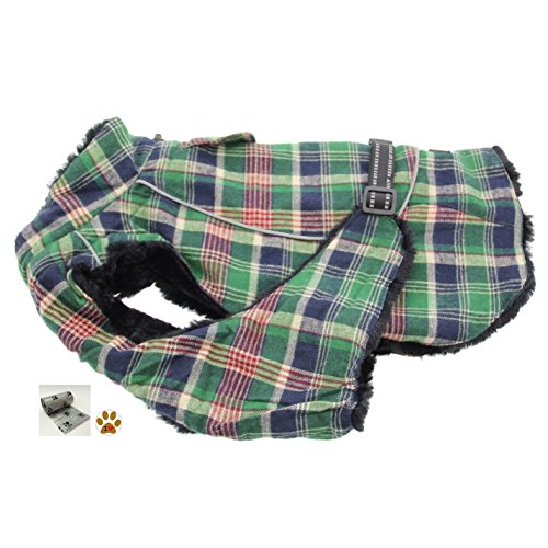 Alpine Cold Weather Flannel Plaid Fur Lined Pinned Dog Coat with Bags Set - (5XL - Chest 37-40'', Neck 30-32'', Back 30'', Green/Blue) by DOGGIE DESIGN (Image #3)