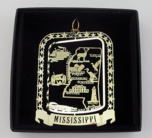 Mississippi State Brass Ornament Black Leatherette Gift - Box Mississippi Gift